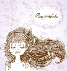 Beauty Salon Cute serene girl with flowing hair vector image vector image