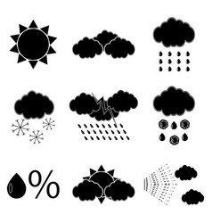 black silhouette meteorology icons set vector image vector image