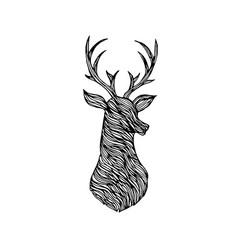 doodle deer silhouette vector image