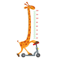 giraffe on scooter meter wall or height chart vector image vector image