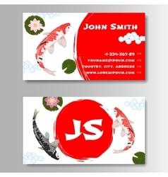Carp Koi Asian style template business card vector image