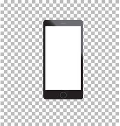 Mockup phone black color front view on white vector