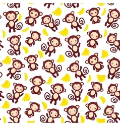 seamless pattern with funny brown monkey yellow vector image vector image