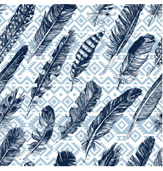 seamless pattern with hand drawn feathers vector image vector image