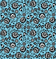 Seamless Polish folk art blue floral pattern vector image