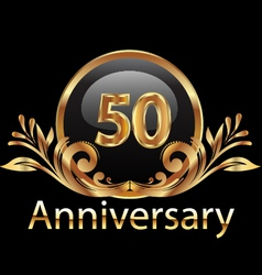 50 years anniversary birthday in gold vector image vector image