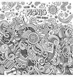 cartoon picnic doodle frame vector image