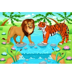 Lion and tiger together in the jungle vector image vector image