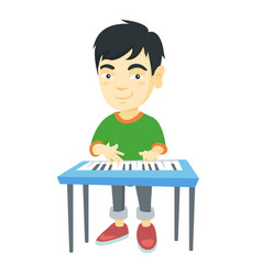 little asian boy playing the piano vector image