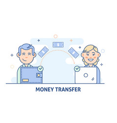 payment transfer people sending and receiving vector image vector image
