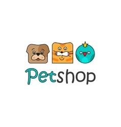 Pet shop logo template outline color dog vector image