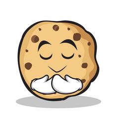 praying face sweet cookies character cartoon vector image
