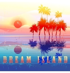 Retro colorful island paradise vector image