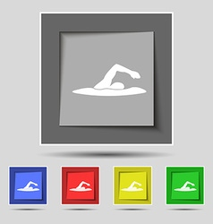 swimmer icon sign on original five colored buttons vector image