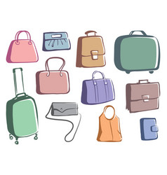 bags and suitcases doodles vector image