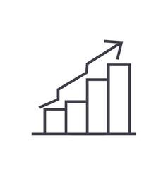 bars ascendant graph line icon sign vector image