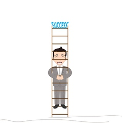 Businessman climbing up with the fear vector image vector image