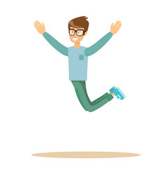 casual man jumping and smiling vector image