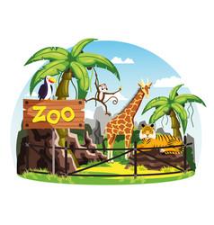 giraffe and monkey tiger and toucan at zoo vector image