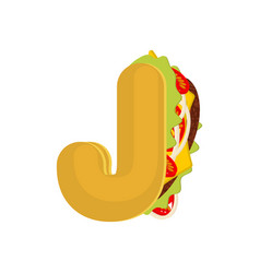 letter j tacos mexican fast food font taco vector image vector image