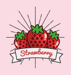 strawberry fruit organic vitamins emblem vector image