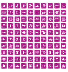 100 hand icons set grunge pink vector image
