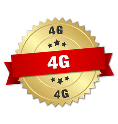 4g round isolated gold badge vector