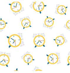 alarm clock seamless pattern background vector image