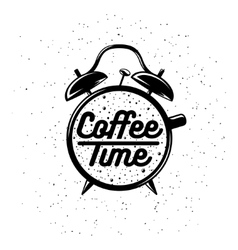 Alarm clock typography coffee related poster vector