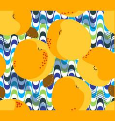 apricot fruits seamless pattern fresh apricots vector image