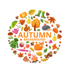 Autumn collection circle fall branch animals and vector
