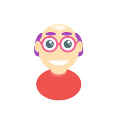Bald man with glasses happy human vector