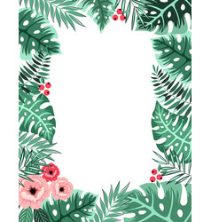 beautiful frame with flowers and leaves vector image