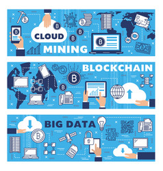 big data cloud cryptocurrency mining blockchain vector image