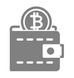 bitcoin wallet solid icon wallet with coin vector image