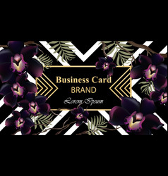 black orchid flowers card beautiful vector image