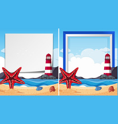 Border templates with starfish at seaside vector