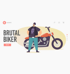 brutal biker landing page template motorcyclist vector image