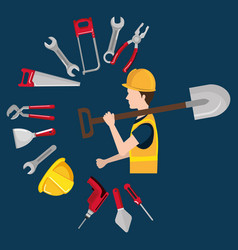 builder character with construction equipment vector image