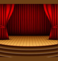 cartoon background stage with red curtains vector image