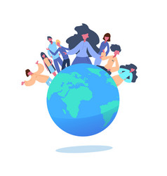 casual people group around earth world globe vector image