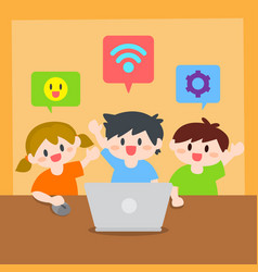 children learn computer or laptop vector image