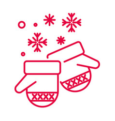 christmas mittens and snowflakes linear icon in vector image