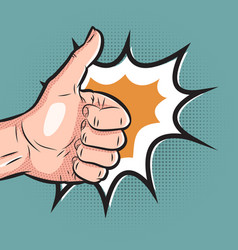 Comic hand showing thumb up gesture pop art like vector
