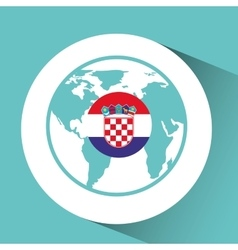 croatia flag pin world map icon design vector image