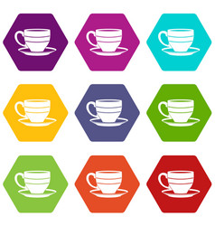 cup icon set color hexahedron vector image