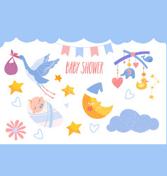 Cute baby shower set with little baby and other vector