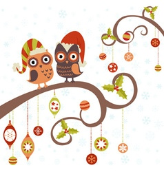 Cute winter Christmas card of owls vector
