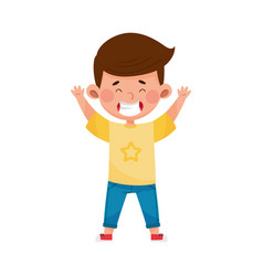 Dark-haired boy standing and waving hand vector