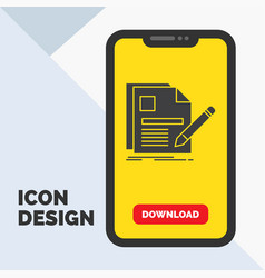 document file page pen resume glyph icon in vector image